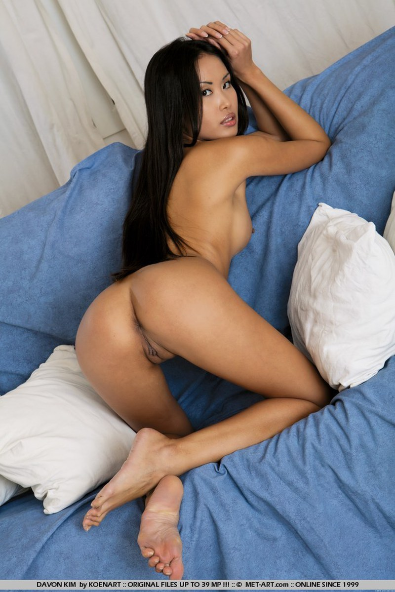 Asian, Ass, Brunette, Couch, Long Hair, Solo picture featuring Davon Kim
