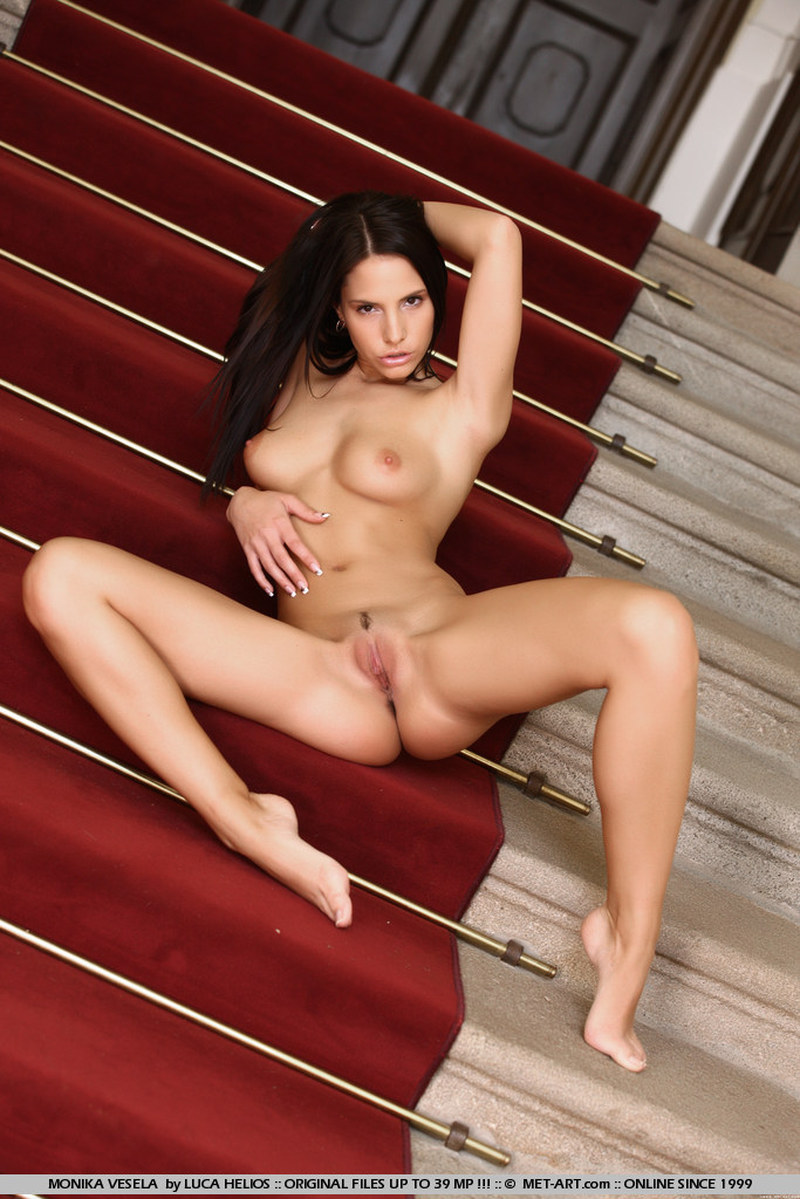 Brunette, Ivory, Long Hair, Solo, Spreading, Stairs picture featuring Monika Vesela