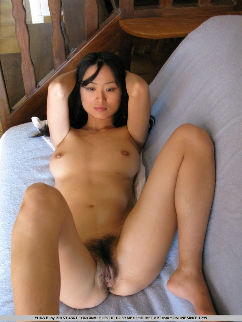Asian, Black Hair, Couch, Long Hair, Small Tits, Solo, Spreading picture featuring Yuka B