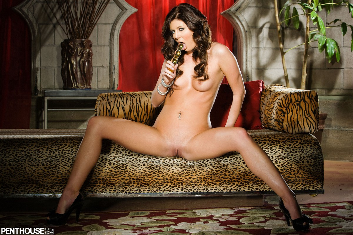 Bed, Brunette, Heels, Ivory, Long Hair, Pierced, Small Tits, Solo, Spreading, Toys picture