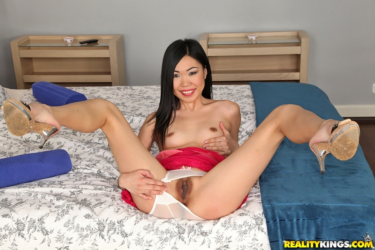 Asian, Bed, Black Hair, Heels, Long Hair, Panties, Small Tits, Solo, Spreading picture
