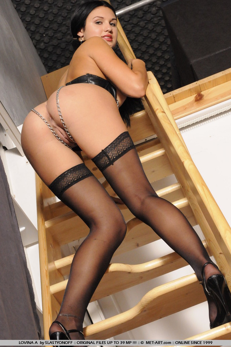 Alternative, Ass, Black Hair, Heels, Ivory, Long Hair, Solo, Stairs, Stockings picture featuring Lovina A