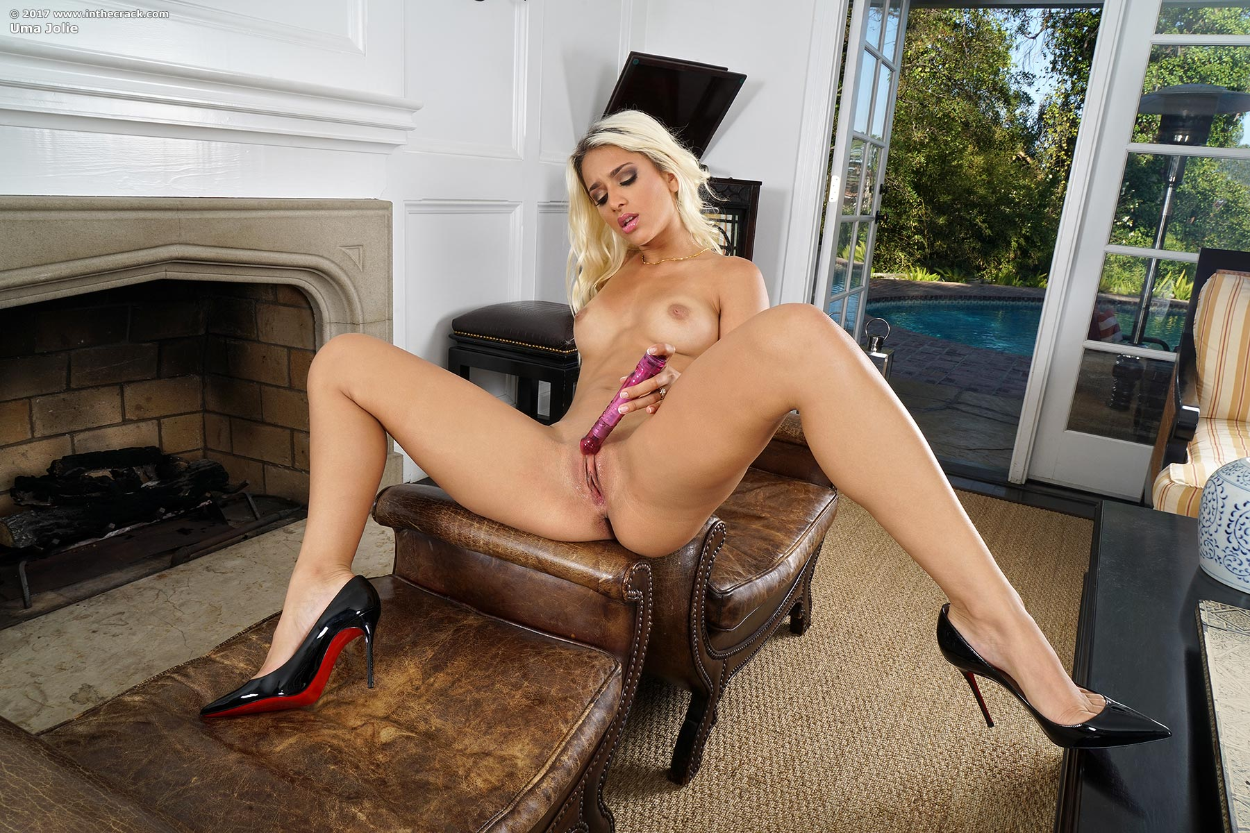 Blonde, Chair, Heels, Ivory, Solo, Spreading, Toys picture featuring Uma Jolie