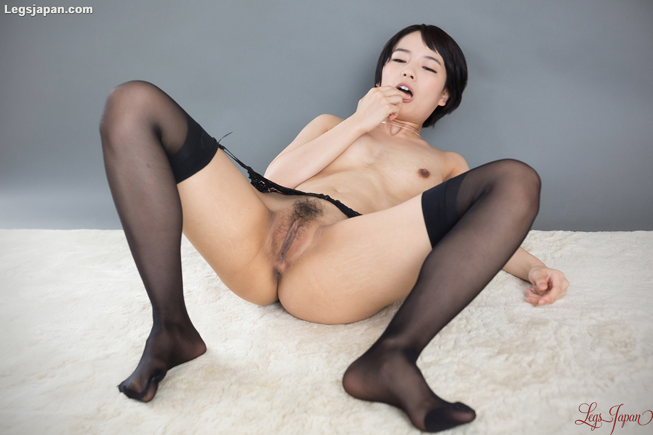 Asian, Black Hair, Floor, Short Hair, Small Tits, Solo, Spreading, Stockings picture featuring Ai Mukai