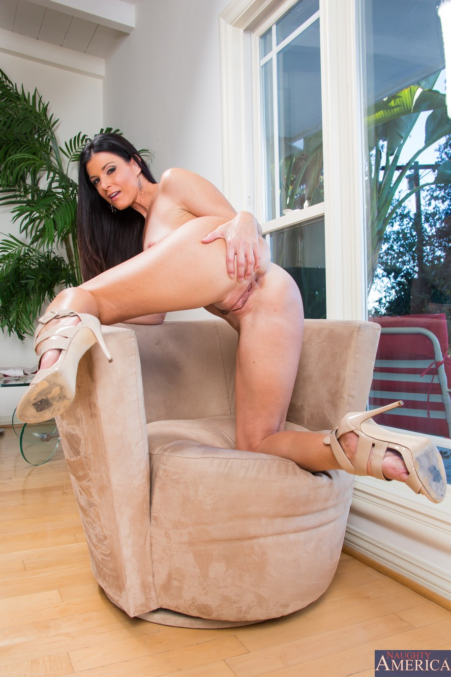 Ass, Brunette, Chair, Heels, Ivory, Long Hair, MILF, Solo picture featuring India Summer