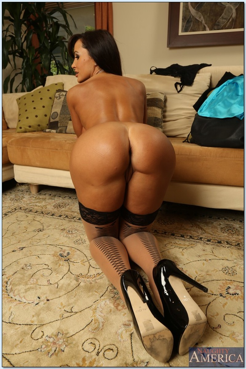 Ass, Brunette, Couch, Floor, Heels, Latina, MILF, Solo, Stockings picture featuring Lisa Ann