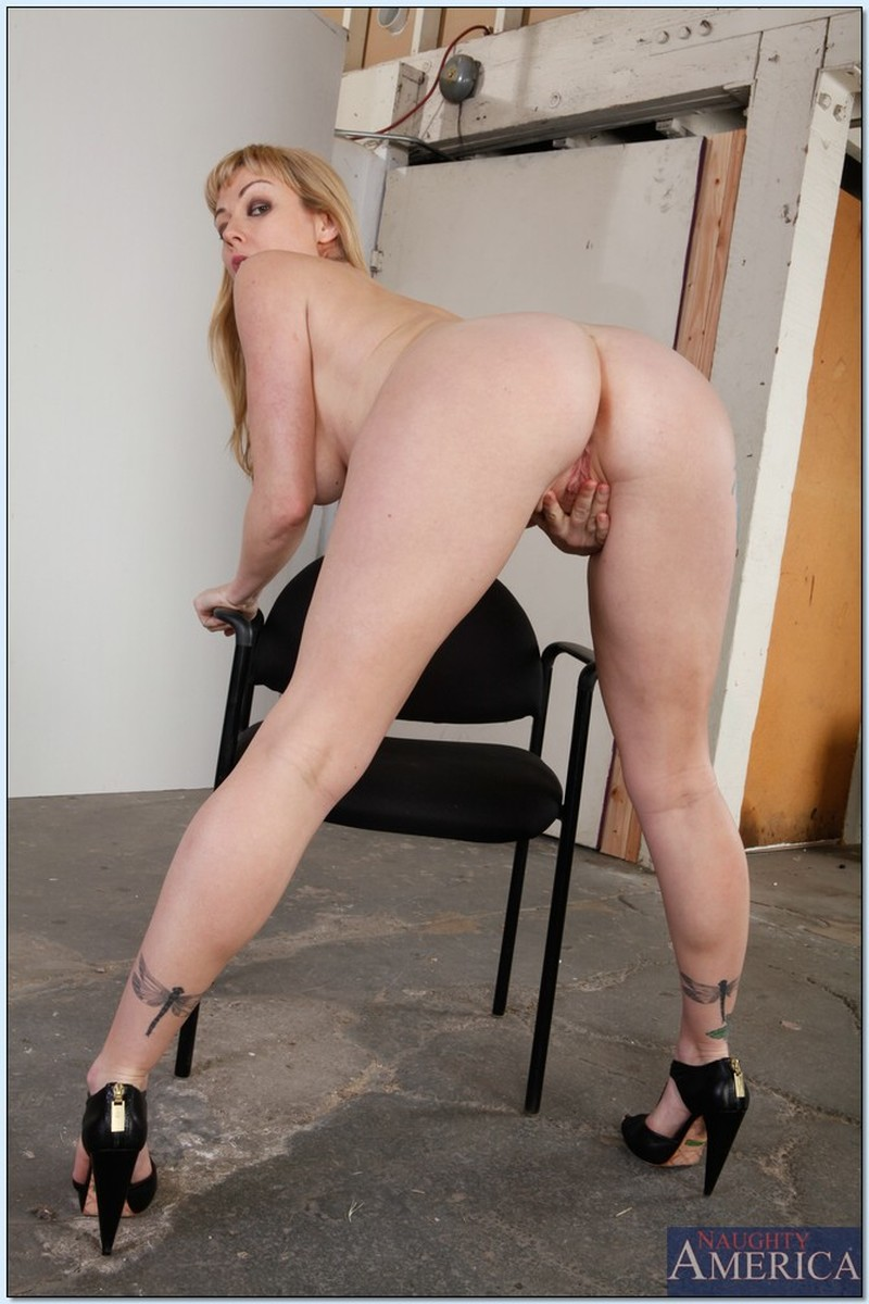 Ass, Blonde, Chair, Heels, Ivory, Masturbation, MILF, Solo, Tattoo picture featuring Adrianna Nicole
