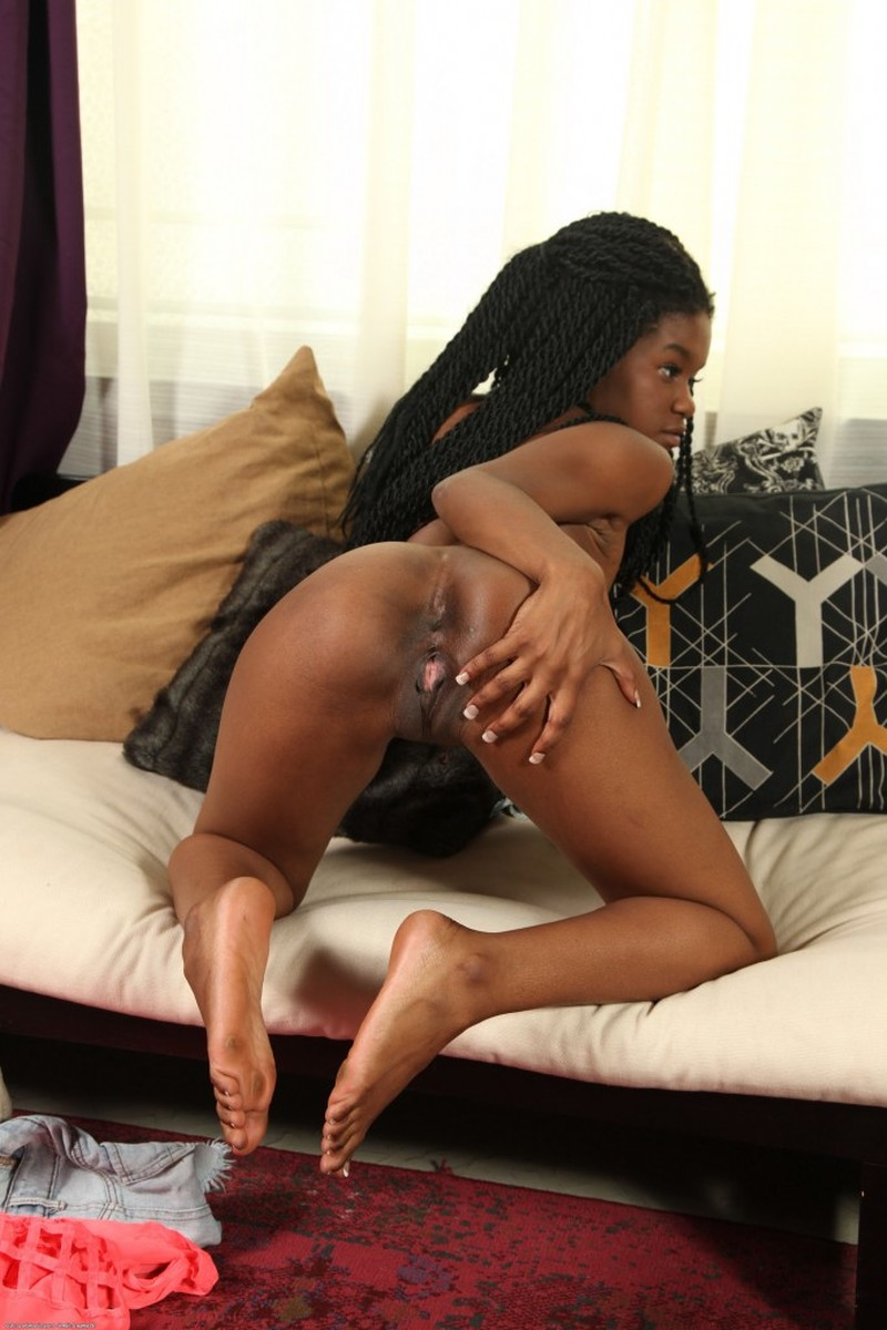 Ass, Black Hair, Couch, Curly Hair, Ebony, Long Hair, Solo picture featuring Kahlista
