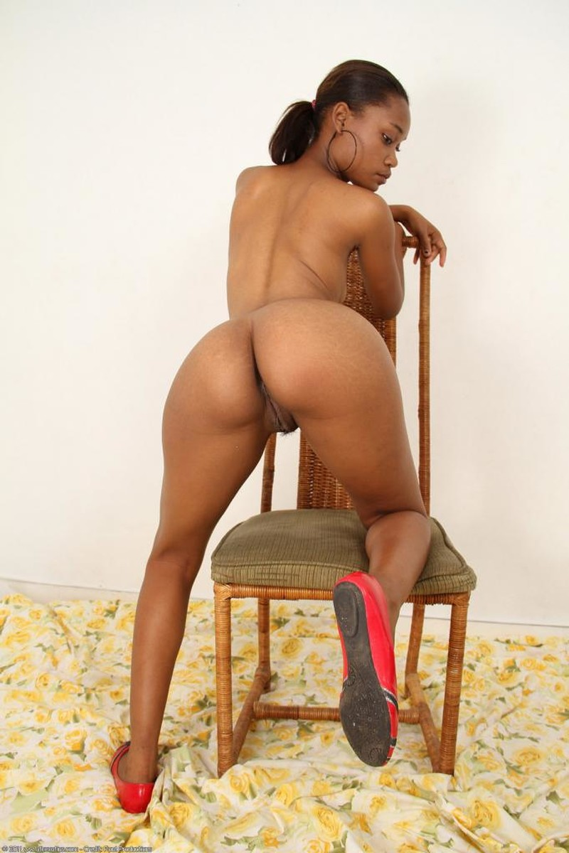 Ass, Brunette, Chair, Ebony, Ponytail, Solo picture featuring Shy