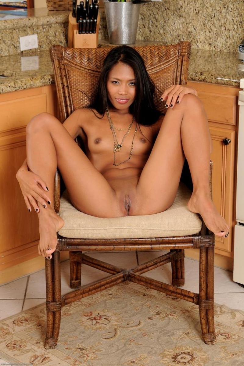 Asian, Black Hair, Chair, Long Hair, Small Tits, Solo, Spreading picture featuring Sweet