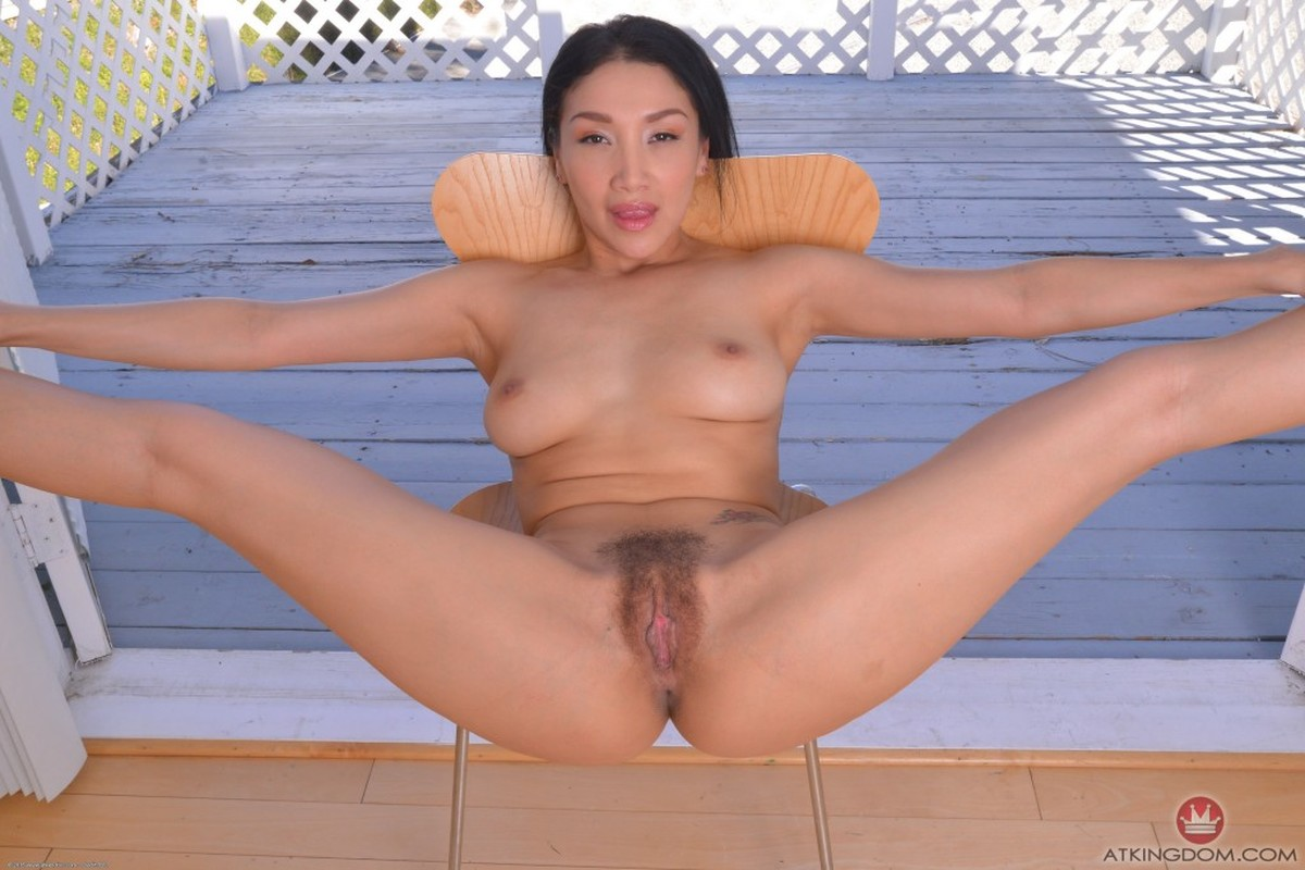 Asian, Black Hair, Chair, Solo, Spreading picture featuring Vicki