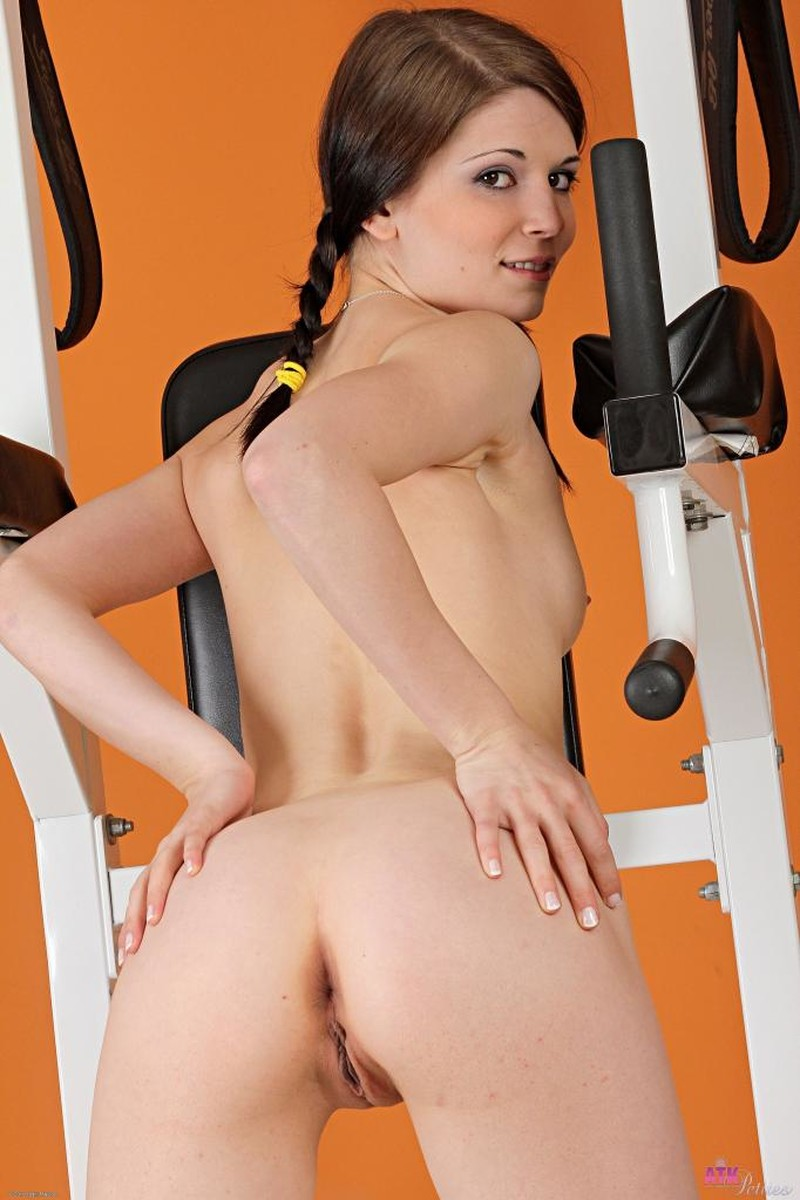 Ass, Brunette, Ivory, Pigtails, Small Tits, Solo, Sporty, Teen picture featuring Sensi