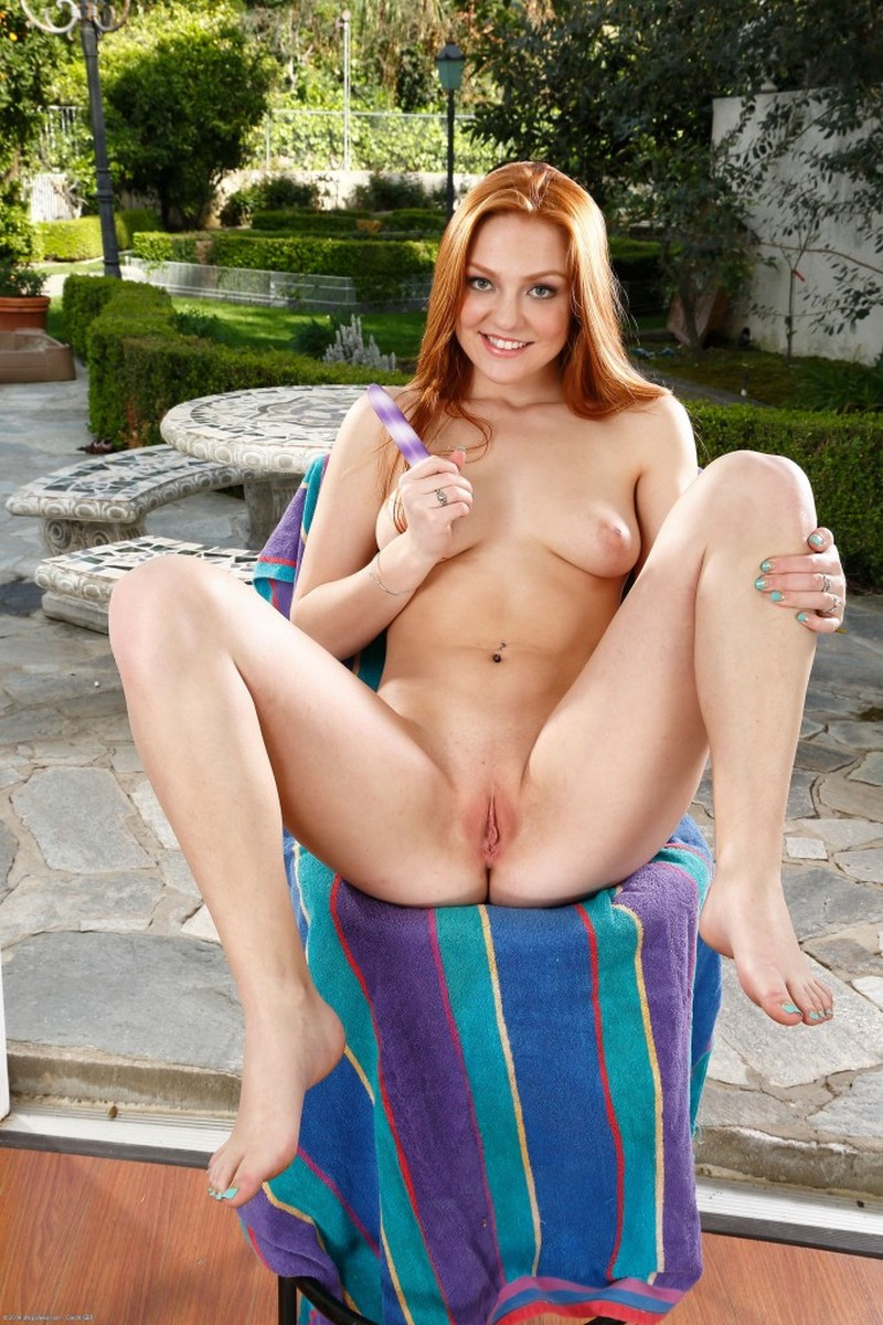 Chair, Ivory, Pierced, Redhead, Small Tits, Solo, Spreading, Toys picture featuring Farrah